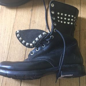Frye Black Rogan Studded lace up Leather Boots.
